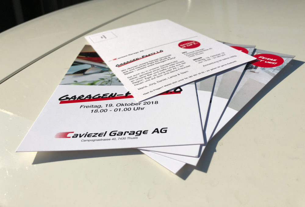 Caviezel Garage Garagen-Party Flyer