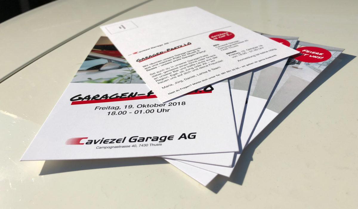 Caviezel Garage Garagen-Party Flyer